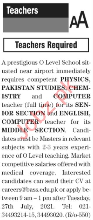 The News Sunday Classified Ads 25 July 2021 for Teachers