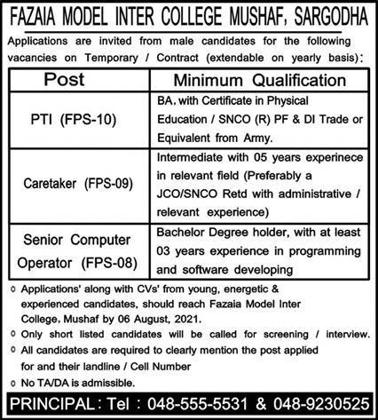 Fazaia Model Inter College  Sargodha Jobs 2021