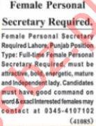 Nawaiwaqt Sunday Classified Ads 25 July 2021 for Secretarial