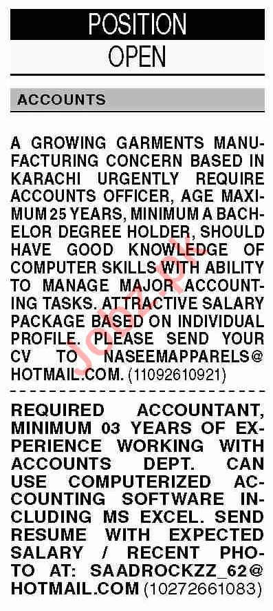 Dawn Sunday Classified Ads 25 July 2021 for Accounts Staff
