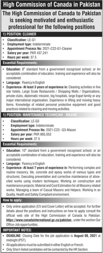 High Commission of Canada Jobs 2021 In Islamabad