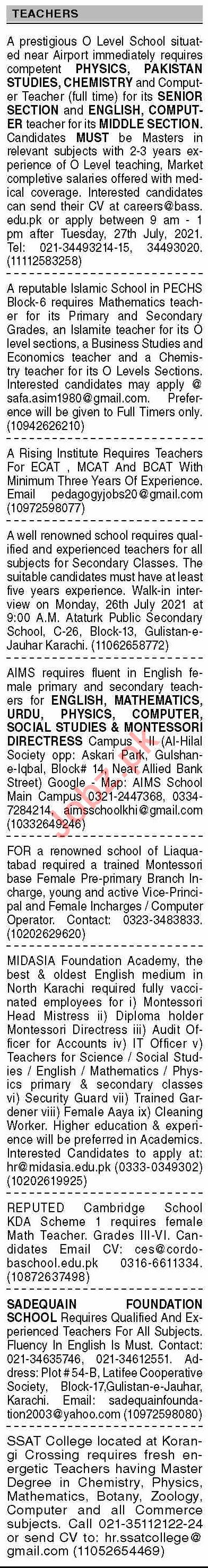 Dawn Sunday Classified Ads 25 July 2021 for Teaching Staff
