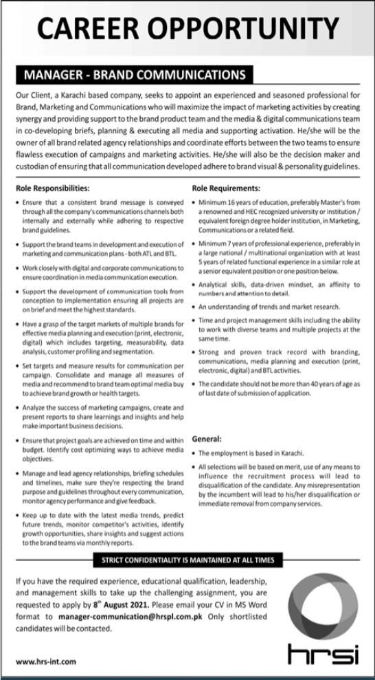 Manager Brand Communications Job 2021 In Karachi