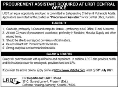 Layton Rahmatullah Benevolent Trust LRBT Job 2021 In Karachi