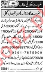 Khabrain Sunday Classified Ads 25 July 2021 for Security