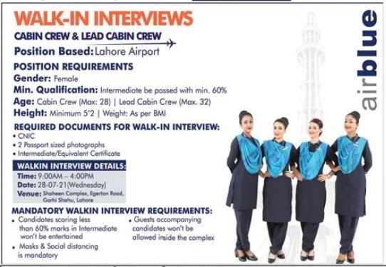 Air Blue Jobs 2021 For Cabin Crew & Lead Cabin Crew
