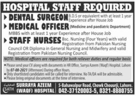 Hospital Staff Jobs 2021 In Lahore