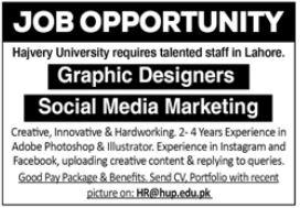 Hajvery University Jobs 2021 In Lahore