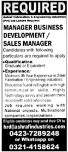 Manager Business Development & Sales Manager Jobs 2021