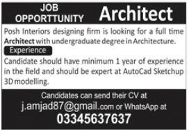 Posh Interiors Designing Firm Job 2021 In Lahore