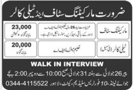 Tele Collar & Marketing Staff Jobs 2021 In Lahore