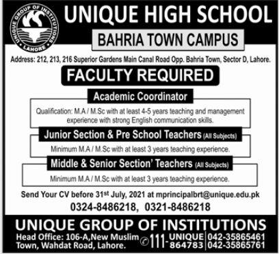 Unique High School Bahria Town Campus Jobs 2021