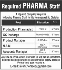 Pharma Staff Jobs 2021 In Lahore