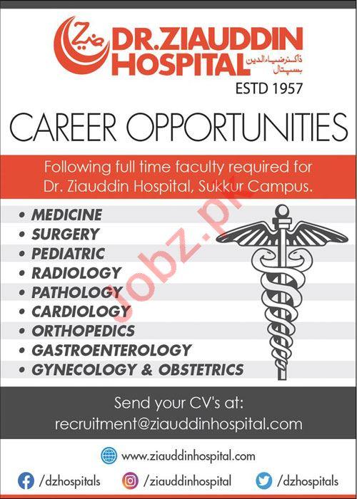 Dr Zia Uddin Hospital Sukkur Campus Jobs 2021