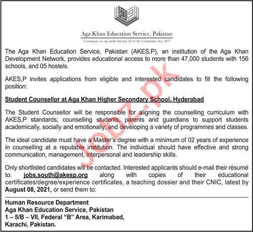 Aga Khan Higher Secondary School AKESP Hyderabad Jobs 2021