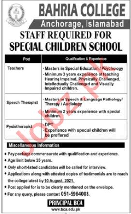 Bahria College Anchorage BCA Islamabad Jobs 2021 for Teacher
