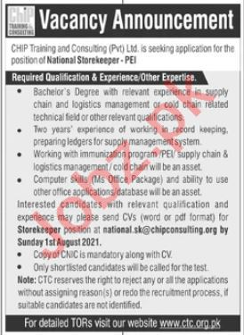 CHIP Training & Consulting CTC Islamabad Jobs 2021