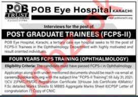 POB Eye Hospital Karachi Jobs 2021 Post Graduate Trainee