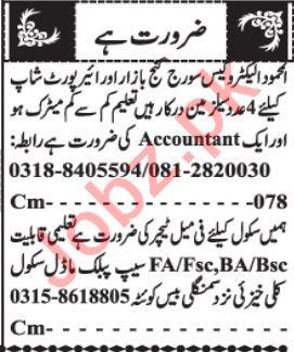 Branch Manager & Marketing Staff Jobs 2021 in Quetta