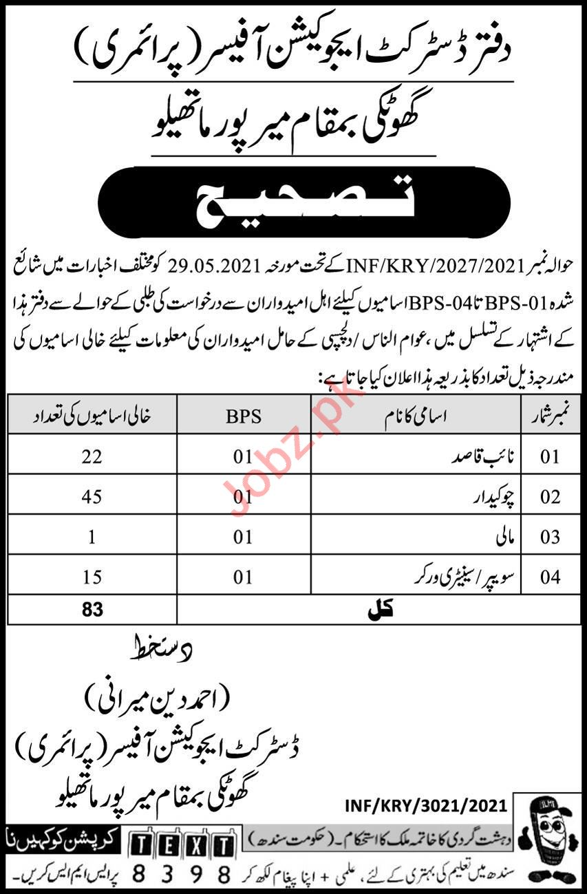 District Education Officer DEO Primary Mirpur Mathelo Jobs