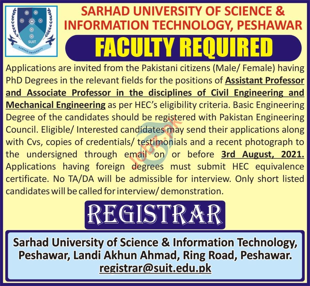 Sarhad University of Science & Information Technology Jobs