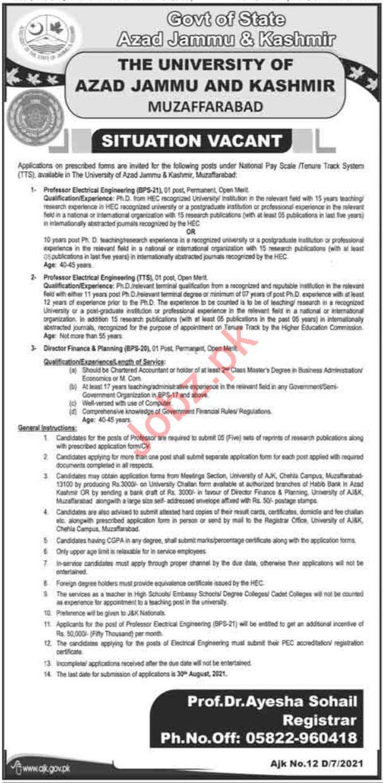 University of Azad Jammu & Kashmir Muzaffarabad Jobs 2021