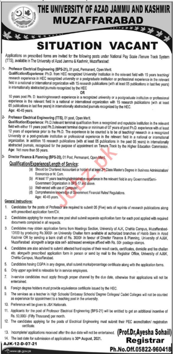 University of Azad Jammu & Kashmir Jobs 2021 for Professors