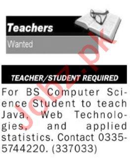 Computer Science Teacher & Teacher Jobs 2021 in Islamabad