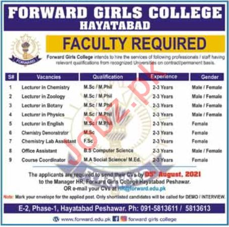 Forward Girls College Hayatabad Jobs 2021 for Lecturers