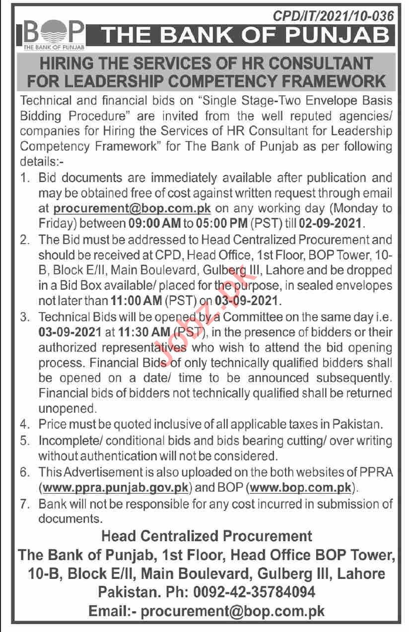 The Bank of Punjab BOP Lahore Jobs 2021 for HR Consultants