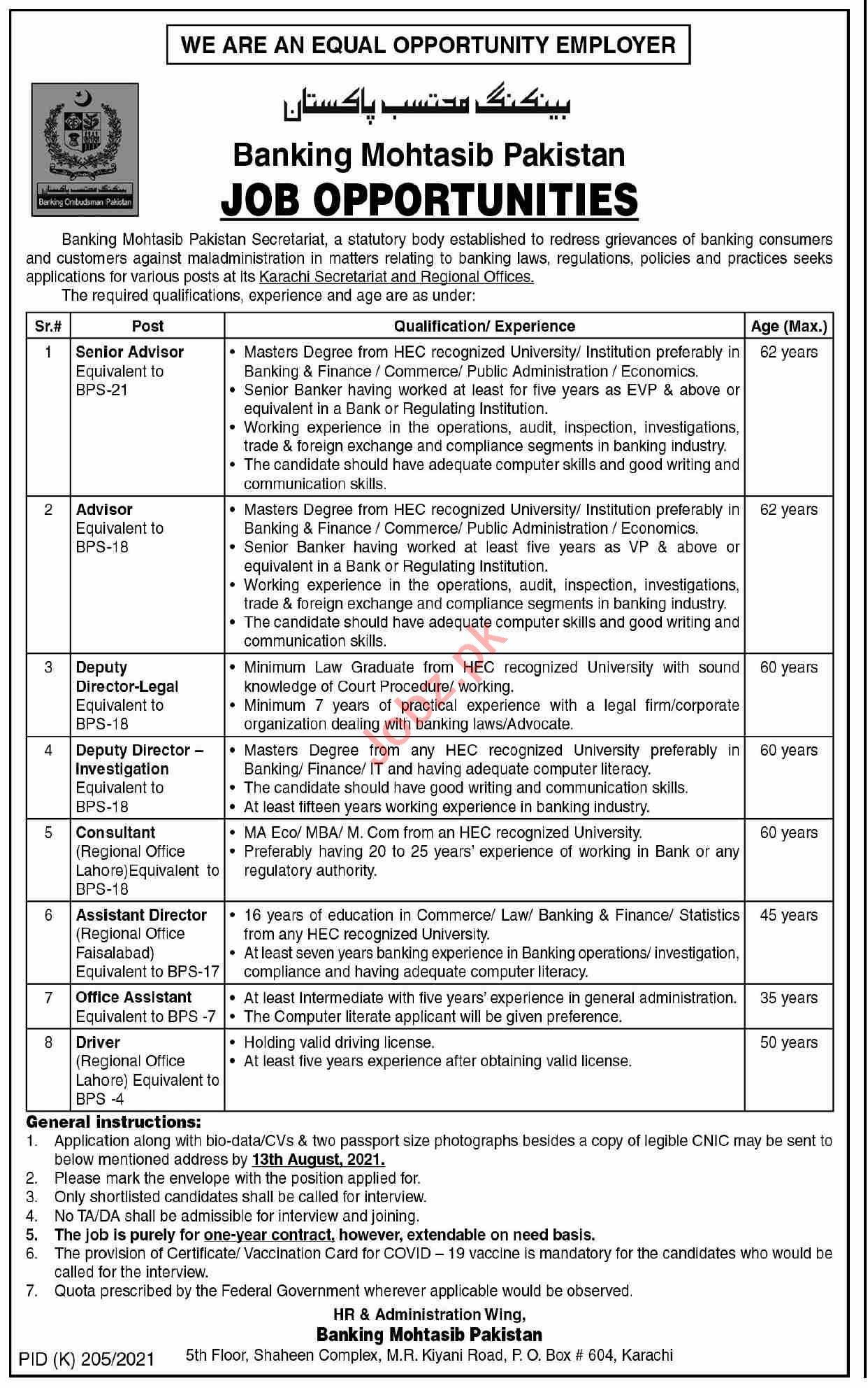 Banking Mohtasib Pakistan Karachi Secretariat Jobs 2021