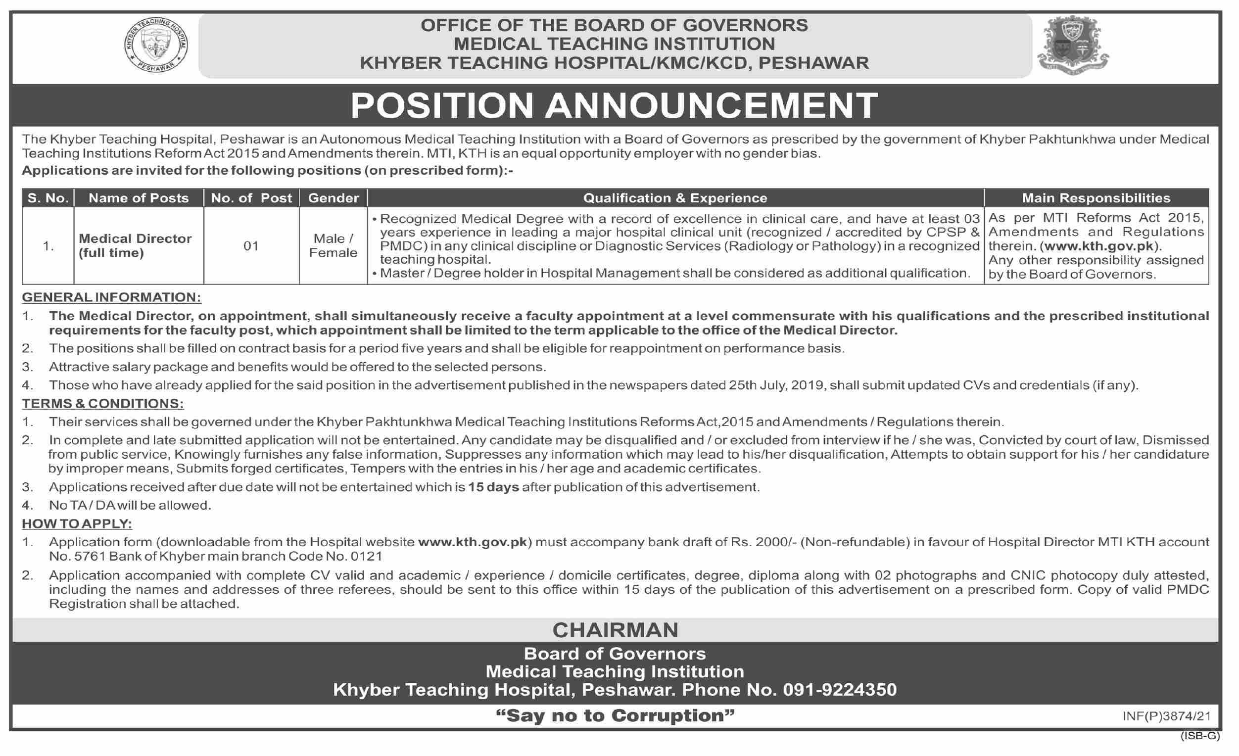 Khyber Teaching Hospital KTC MTI Peshawar Jobs 2021