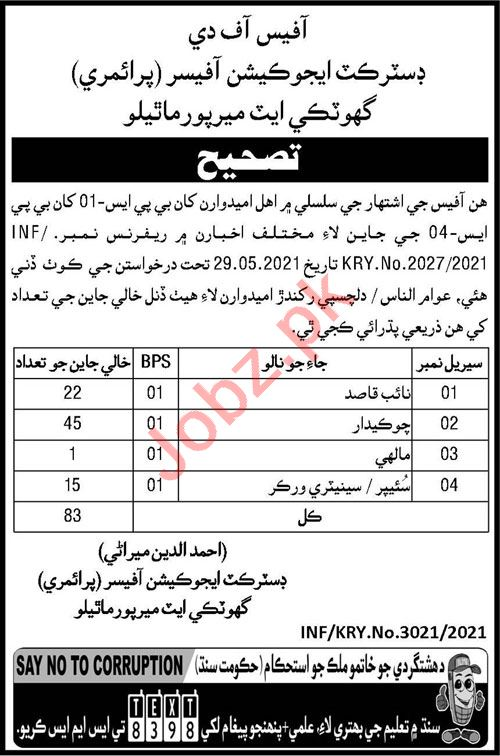 District Education Officer Primary Mirpur Mathelo Jobs 2021