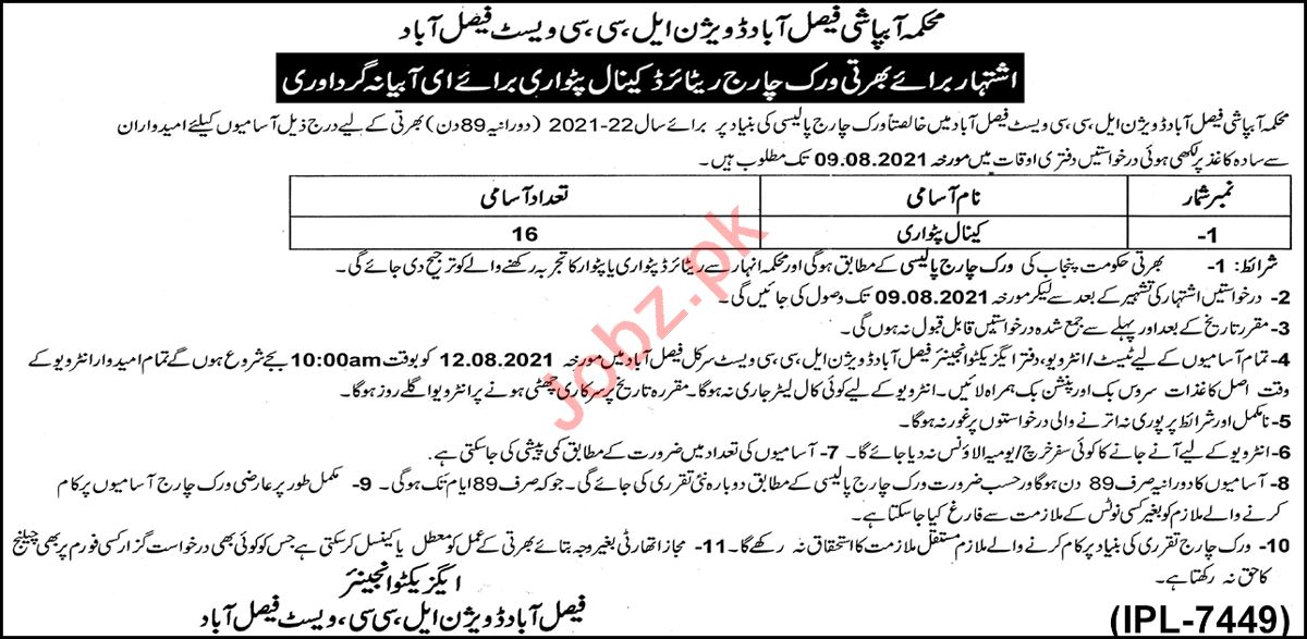 Faisalabad Division LCC West Faisalabad Jobs 2021 Patwari