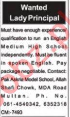 Lady Principal & Teacher Jobs 2021 in Multan