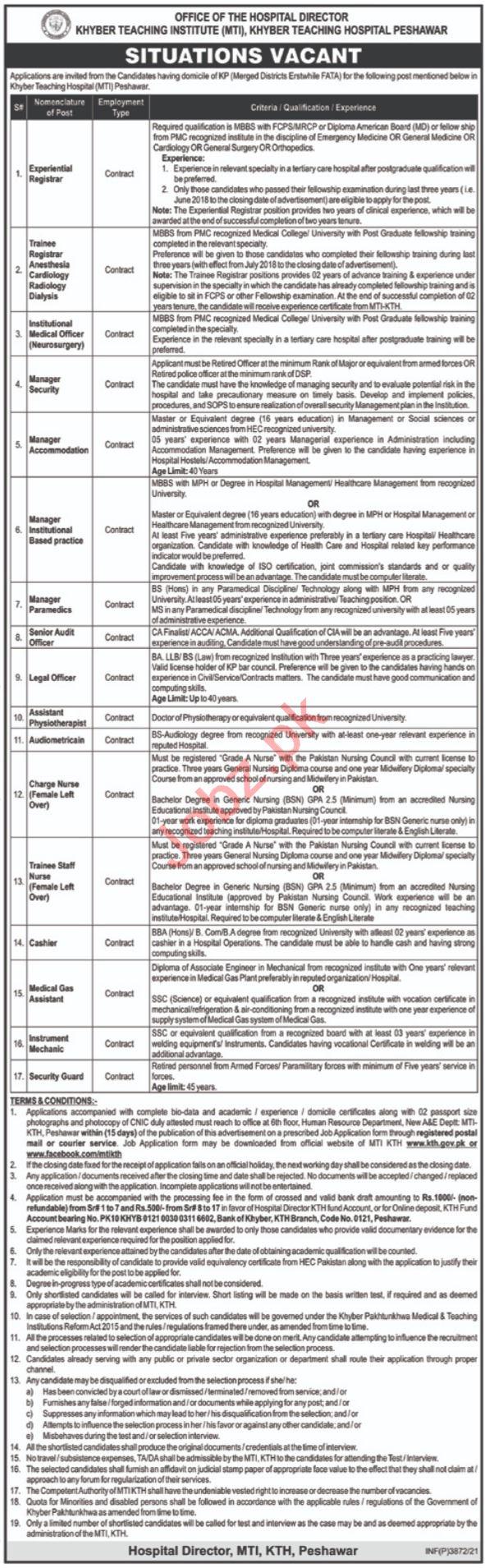 Khyber Teaching Institute Peshawar Jobs 2021 for Registrars