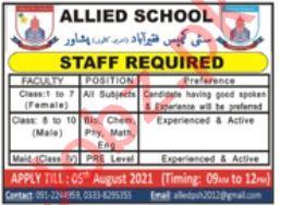 Allied School City Campus Faqirabad Peshawar Jobs 2021