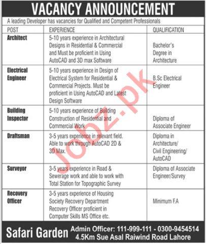 Safari Garden Lahore Jobs 2021 for Engineer & Architect