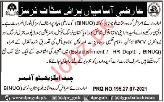Balochistan Institute of Nephrology Urology BINUQ Jobs 2021