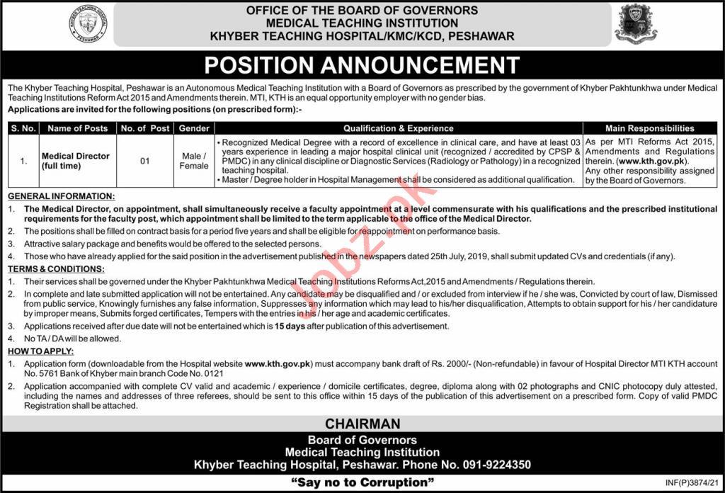 Khyber Teaching Hospital KTH Jobs 2021 for Medical Director