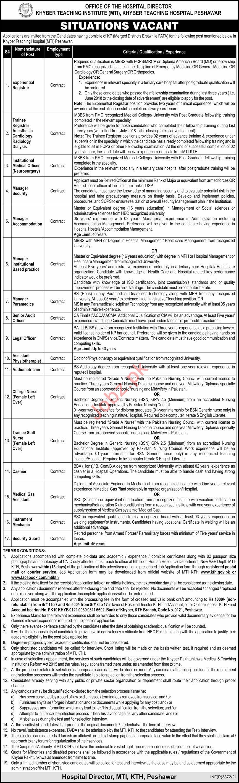 Khyber Teaching Institute Peshawar Jobs 2021 for Managers