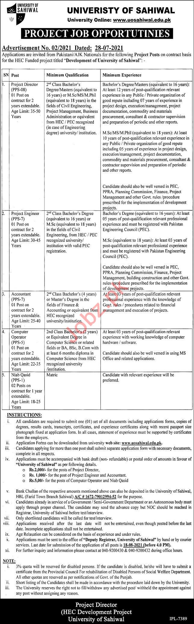 University of Sahiwal Jobs 2021 for Project Director