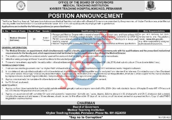 Khyber Teaching Hospital KTH MTI Jobs 2021 Medical Director