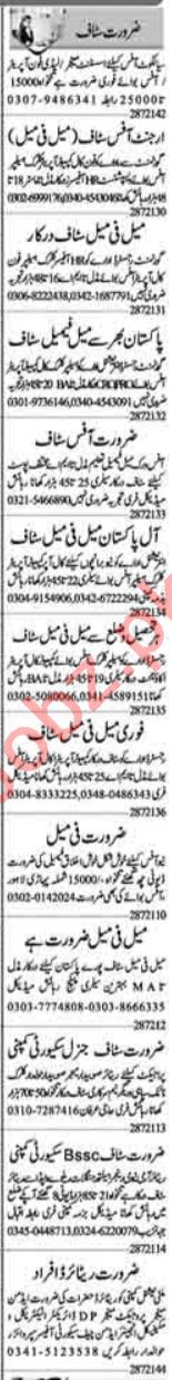 Lady Phone Operator & Office Boy Jobs 2021 in Lahore
