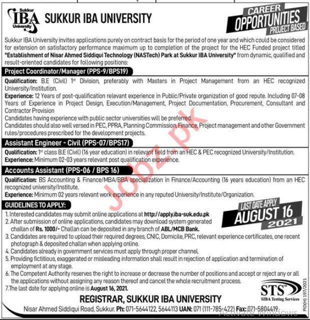 Sukkur IBA University Jobs 2021 for Coordinator & Engineer