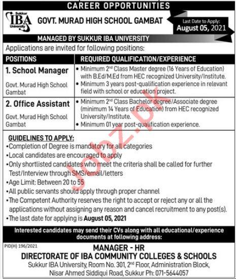 Directorate of IBA Community Colleges & Schools Jobs 2021