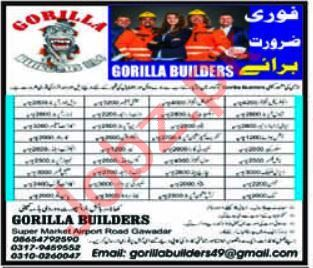 Gorilla Builders Gwadar Jobs 2021 for Security Supervisor