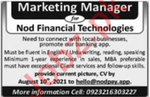 Nod Financial Technologies Jobs 2021 for Marketing Manager