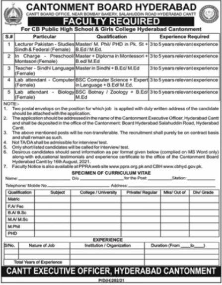 CB Public High School & Girls College Hyderabad Jobs 2021