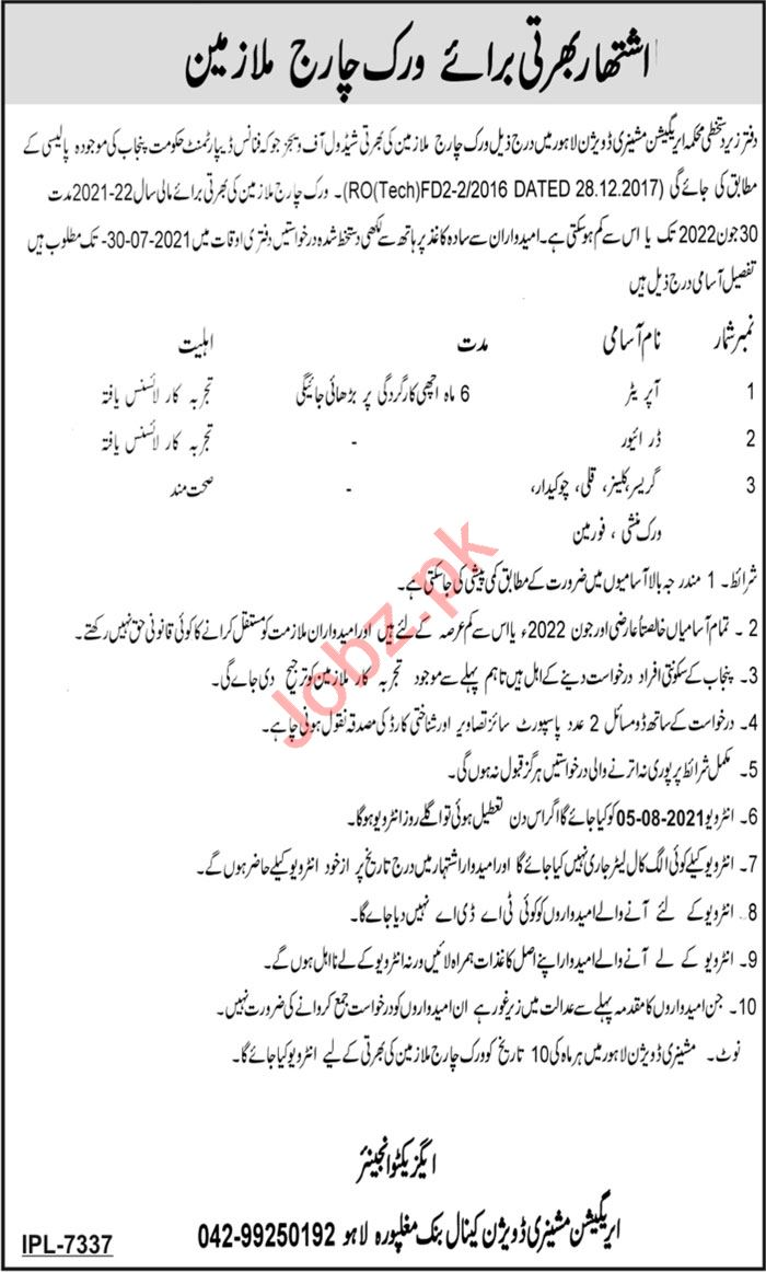 Machinery Division Canal Bank Mughalpura Lahore Jobs 2021